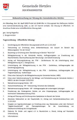 Vorschaubild zur Meldung: Sitzung des Gemeinderates Hetzles