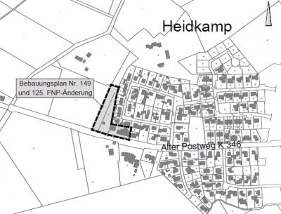 """Aufstellung des Bebauungsplanes Nr. 149 """"Heidkamp, Hotel und Restaurant"""" und 125. Änderung des Flächennutzungsplanes"""
