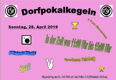 Foto zur Meldung: Einladung zum Dorfpokalkegeln 2019 am 28.04.2019 11.00 - 15.00 Uhr