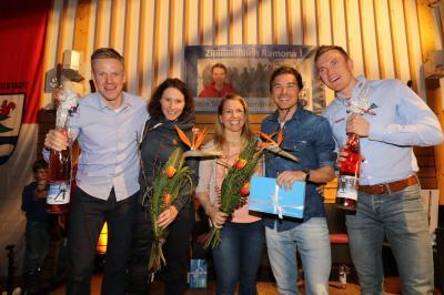 Sie hatten gut lachen: Die Schwarzwälder Starter bei der Ski-WM in Seefeld und Östersund wurden in Breitnau geehrt und ausgezeichnet - Foto: Joachim Hahne