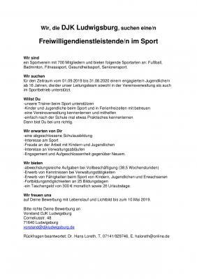 Vorschaubild zur Meldung: Die DJK Ludwigsburg suchen eine/n  Freiwilligendienstleistende/n im Sport (BFD)