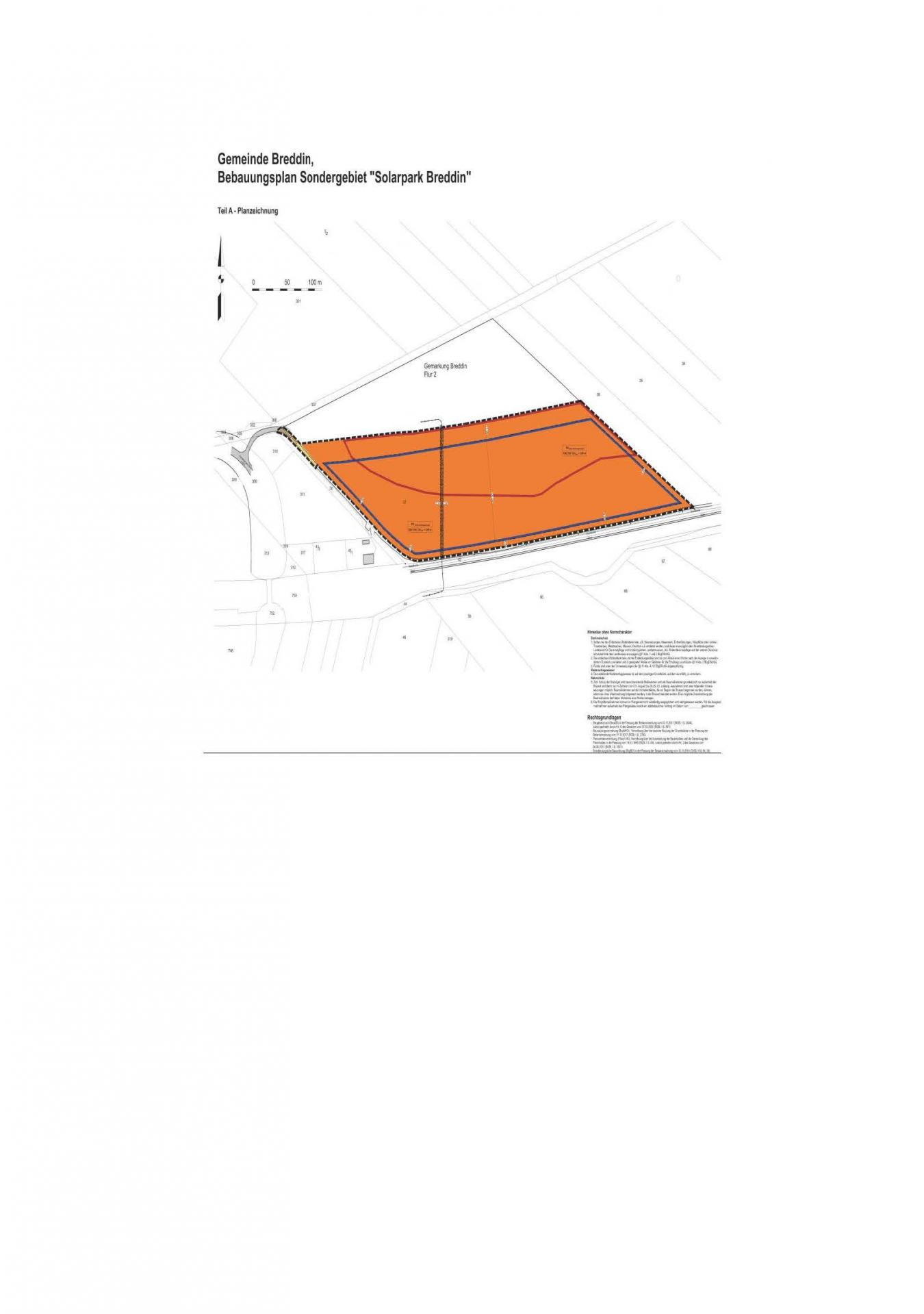 Planauszug B-Plan Solarpark Breddin