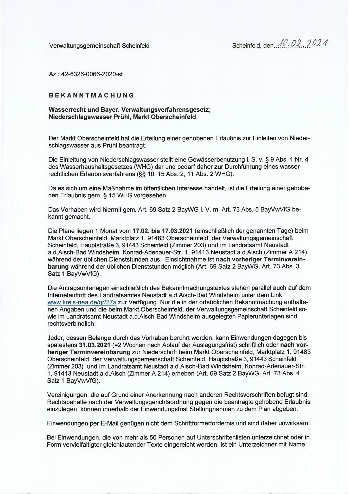 Bekanntmachung Wasserrecht