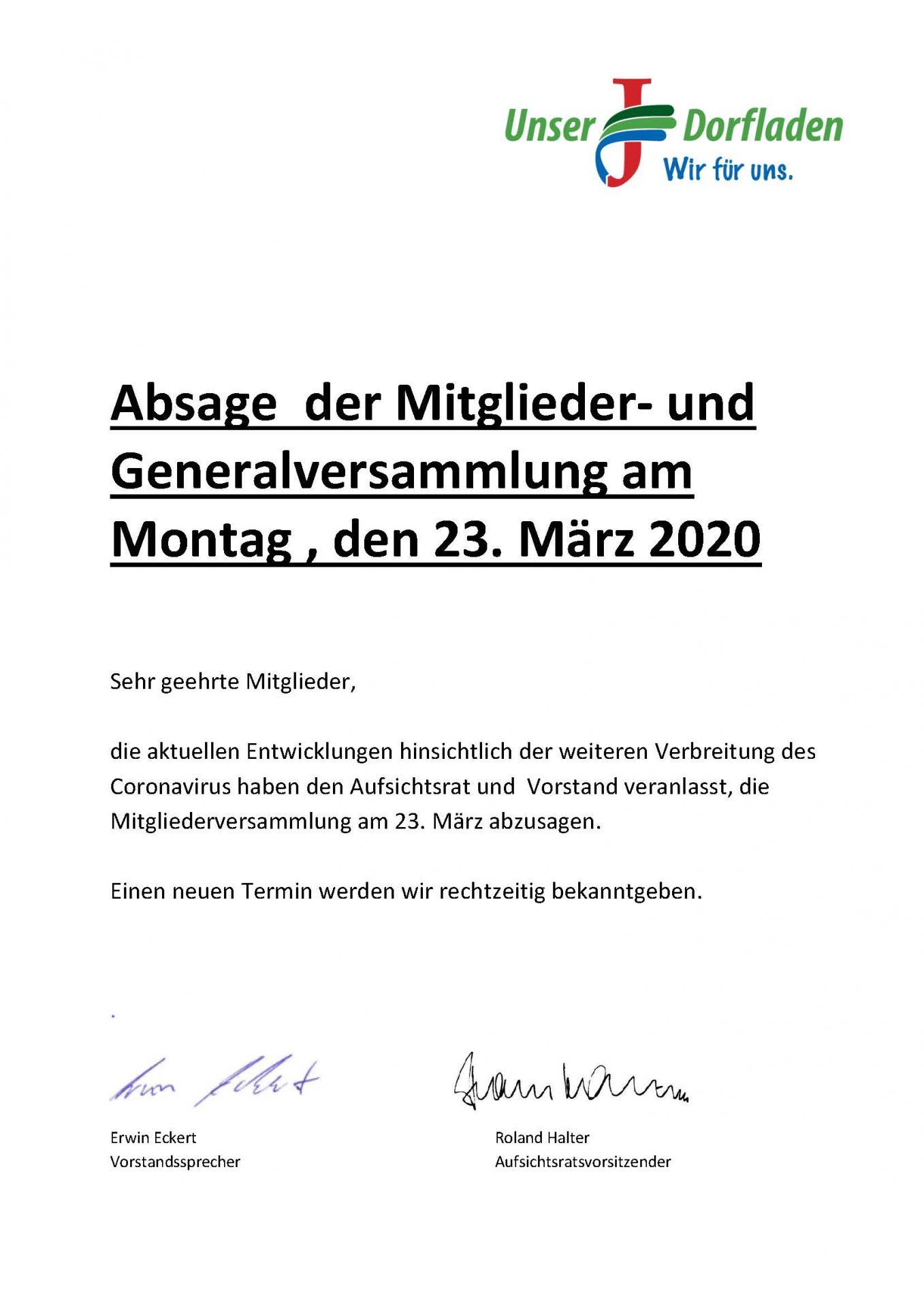 Absage Mitgliederversammlung