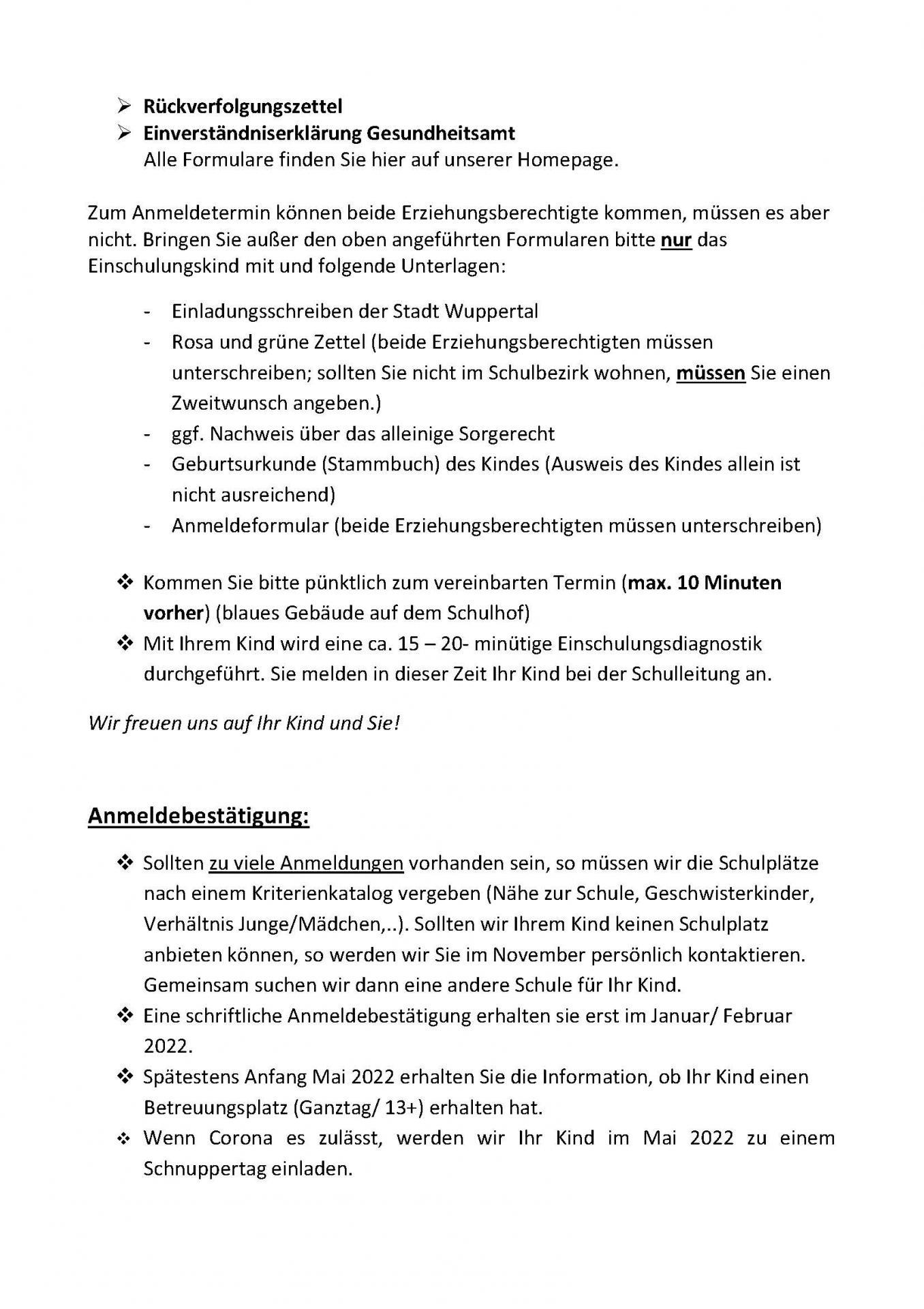 Info Anmeldung Teil 2