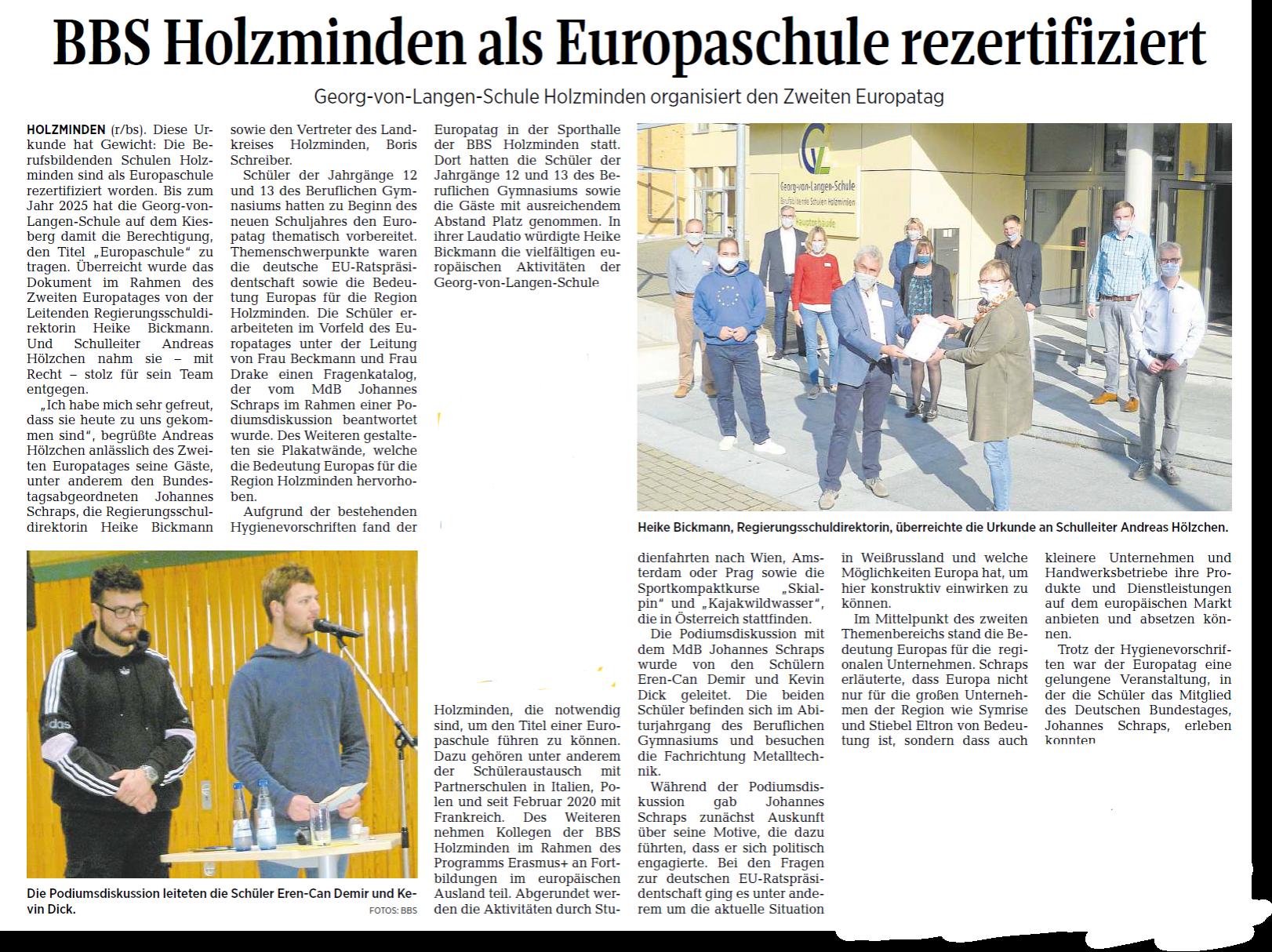 BBS Holzminden als Europaschule rezertifiziert