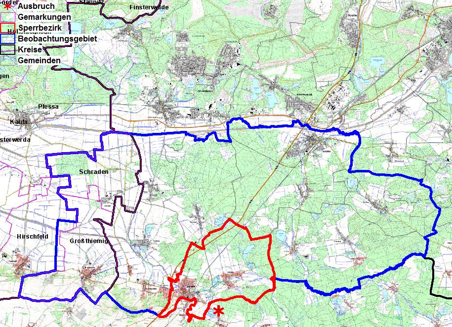 Karte betroffene Gebiete