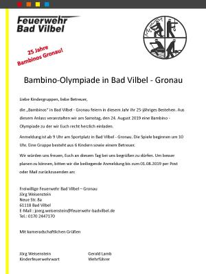 Einladung Bambino Olympiade Gronau