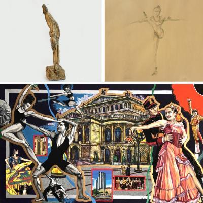 Collage von Werken der Künstler*innen: Oben links ein Werk von Willi Palcei, oben rechts eines von Orlando Schnabel und unten von Irina Düsterhöft. Foto: Irina Düsterhöft