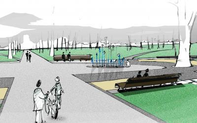 Konzeptzeichnung des geplanten Zentrums des Clara-Zetkin-Parks mit Wasserspiel I Quelle: Schrickel + Partner