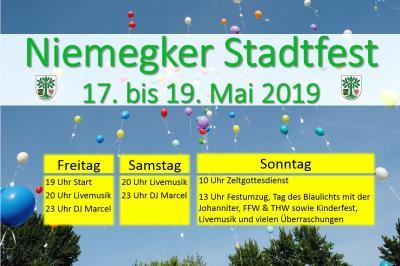 Vorschaubild zur Meldung: Niemegker Stadtfest 17. bis 19. Mai 2019 mit Kinderfest und Tag des Blaulichts