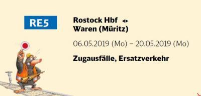 Vorschaubild zur Meldung: Zugausfälle zwischen Rostock Hbf - Waren (Müritz) vom 06.05.2019 - 20.05.2019