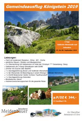 Vorschaubild zur Meldung: Gemeindeausflug Königstein - Abfahrtszeiten