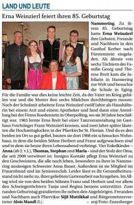 Vorschaubild zur Meldung: Erna Weinzierl feiert ihren 85. Geburtstag