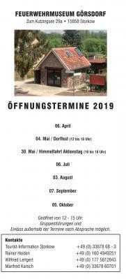 Flyer Feuerwehrmuseum-Termine 2019