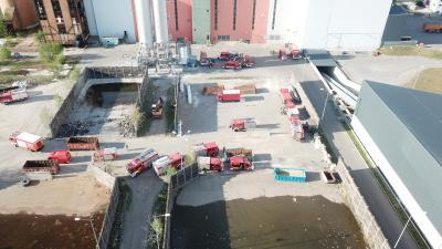 Großübung der Feuerwehren im Kreis Oberspreewald-Lausitz bei EEW in Großräschen