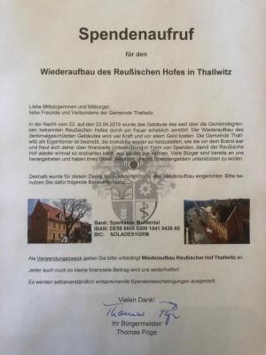 Spendenaufruf Gemeinde Thallwitz