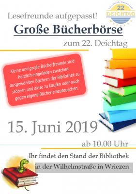 Vorschaubild zur Meldung: Große Bücherbörse zum 22. Deichtag