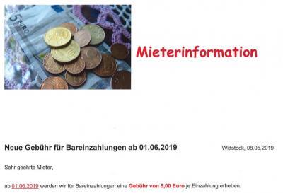 Vorschaubild zur Meldung: Geänderte Gebühr für Bareinzahlungen