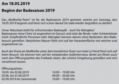 Eröffnung Badesaison 2019
