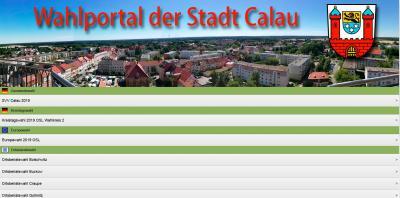 Startseite des Wahlportals der Stadt Calau.