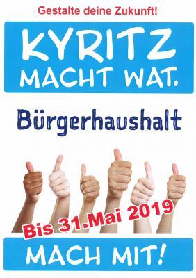 Vorschaubild zur Meldung: Noch bis 31. Mai können Vorschläge für den Kyritzer Bürgerhaushalt 2020 eingereicht werden