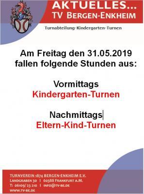 Vorschaubild zur Meldung: Freitag den 31.05.2019 fällt das Kindergarten- und Eltern-Kind-Turnen aus
