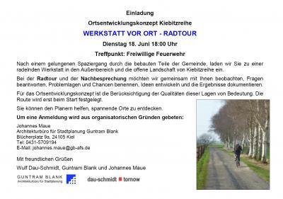 Einladung zur Werkstatt vor Ort Radtour am 18.6.2019