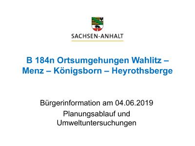 B 184n Ortsumgehungen Wahlitz-Menz-Königsborn-Heyrothsberge