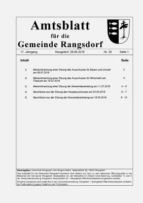 © Gemeinde Rangsdorf - Titelseite des Amtsblattes der Gemeinde Rangsdorf vom 28.06.2019