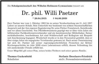 Dr. Willi Paetzer; ein Nachruf