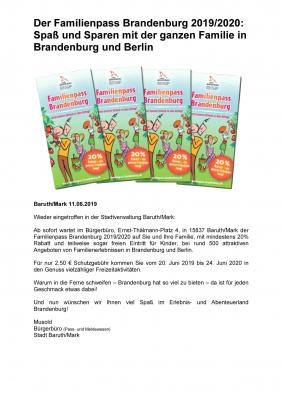 Familienpass Brandenburg 2019/2020