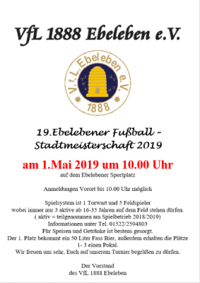 Foto zur Meldung: 19. Ebelebener Fußball - Stadtmeisterschaft 2019