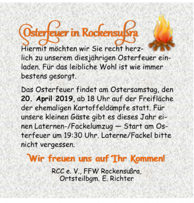 Foto zur Meldung: Osterfeuer und Fackelumzug in Rockensußra