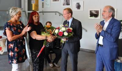die SPD-Landtagsabgebordnete Jutta Lieske, Gabriele Stolze, Karsten Knobbe und Martin Gorholt (v. l.)