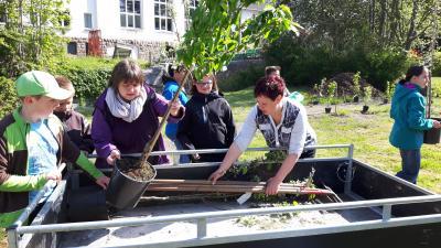 ROWI-Kids helfen bei der Bepflanzung des ROWI-Parks