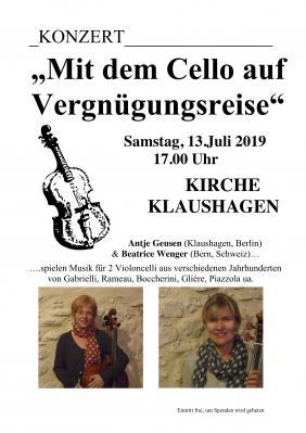 Vorschaubild zur Meldung: Konzert: Mit dem Cello auf Vergnügungsreise, 13. Juli