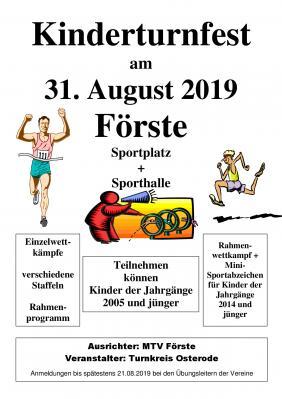 Vorschaubild zur Meldung: Kinderturnfest am 31.08.2019 in Förste