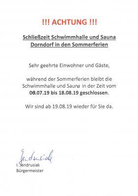 Vorschaubild zur Meldung: Schließzeiten Schwimmhalle und Sauna im Ortsteil Dorndorf