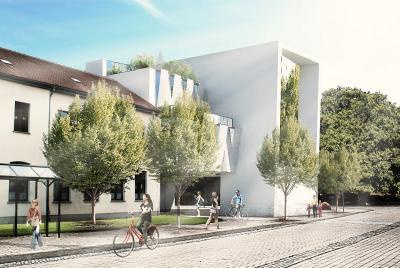 Moderner Anblick: So wird sich das neue Gebäude von der Bismarckstraße aus anfügen.