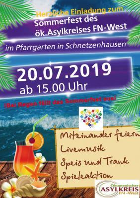 Vorschaubild zur Meldung: Am 20.Juli findet das Sommerfest des ök. Asylkreises mit vielen Überraschungen statt.