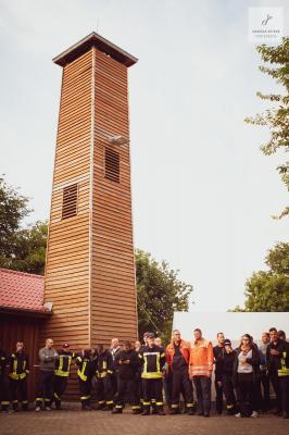 Foto zur Meldung: Kameraden der Gemeinde Sülstorf beim Schlauchturmfest in Kraak
