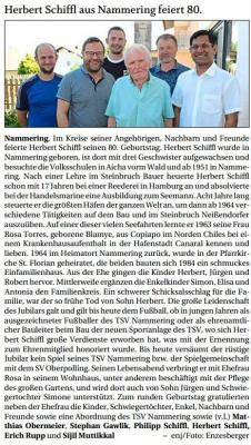 Vorschaubild zur Meldung: Herbert Schiffl aus Nammering feiert 80.