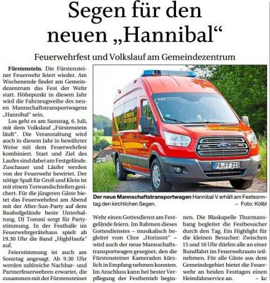 """Vorschaubild zur Meldung: Segen für den neuen """"Hannibal"""""""