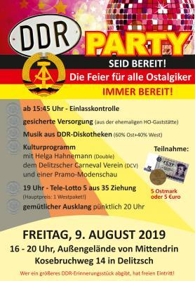 Vorschaubild zur Meldung: DDR-PARTY am 9. August 2019