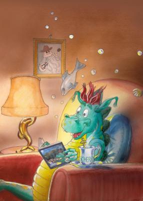 Schermützel liest - Aquarell