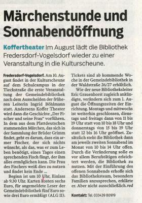 Vorschaubild zur Meldung: Gemeindebibliothek Fredersdorf startet nach der Sommerpaus durch