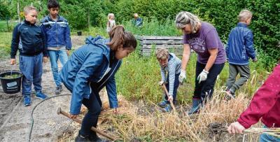 Hier gibt es für jeden etwas zu tun: Schüler und Lehrer bringen den Schulgarten der Fritz-Reuter-Grundschule auf Vordermann.Dénise Schulze