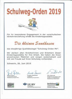 """Vorschaubild zur Meldung: Schulwegorden 2019 für Kita """"Die kleinen Sandhasen"""""""