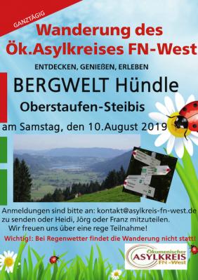 Vorschaubild zur Meldung: Wichtige Info zur Wanderung des ök. Asylkreises am 10. August 2019 zum Hündle